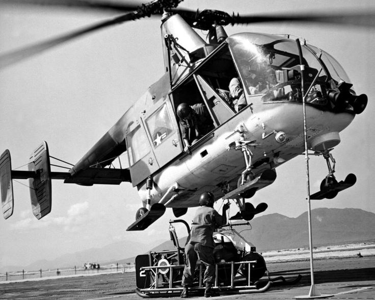A U.S. Air Force HH-43B Huskie practices rescue operations at an air base in South Vietnam during 1966.