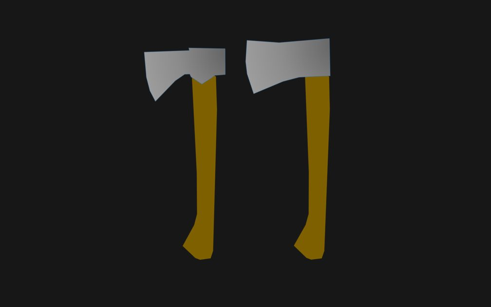 Illustration 1: Hatchet and Ax with same wooden handle shape and weight