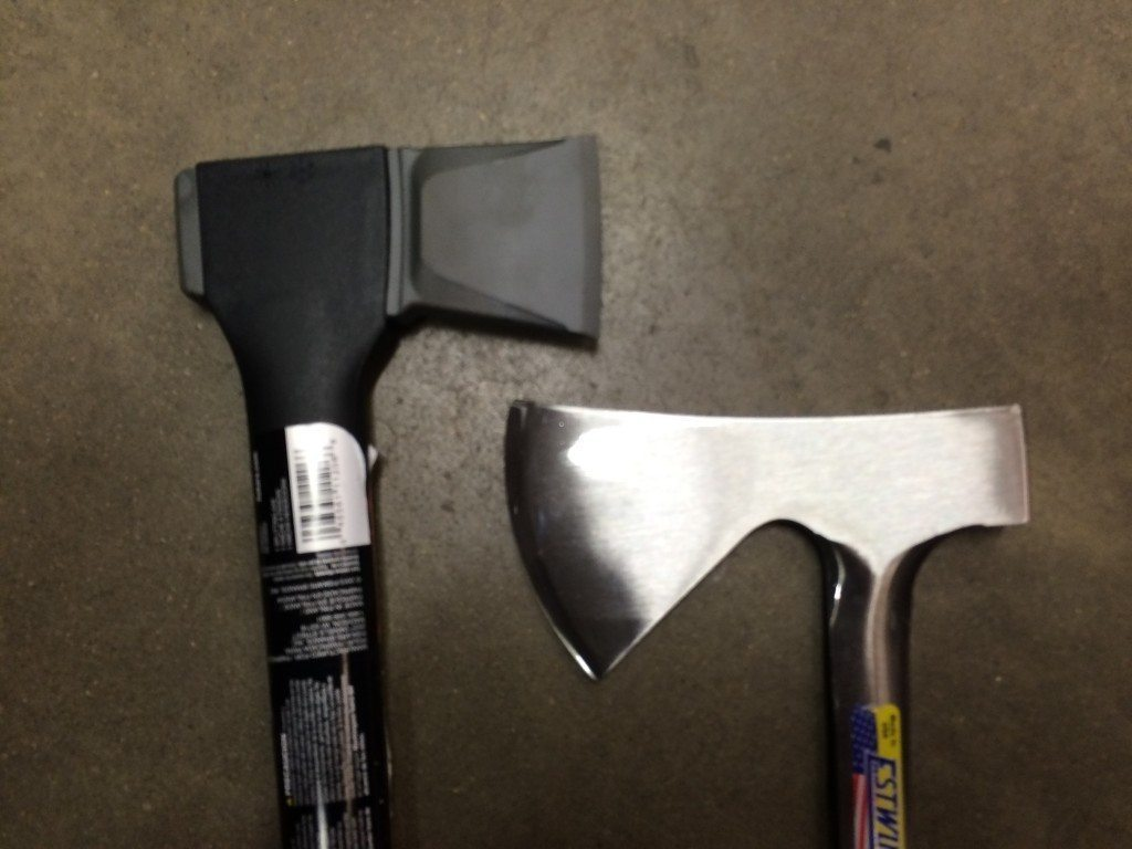On the left: A heavy ax head on an ax crafted into a particular shape that makes it excellent for splitting logs. On the right: A light-weight camper's ax. Similar to a hatchet but the head is very large and therefore it is an ax (it cannot be manipulated with easy dexterity as a hatchet could be)