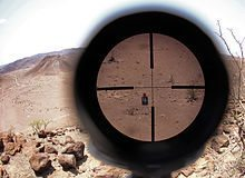 US Marine telescopic sight picture during high-angle marksmanship training.