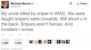Moore made sure to insult the military
