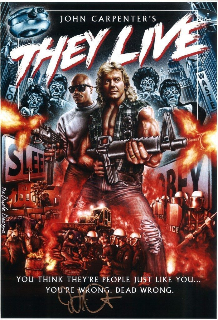 John-Carpenter-Autographed-11x17-They-Live-Movie-Poster-Roddy-Piper-with-Gun-Photo-699x1024
