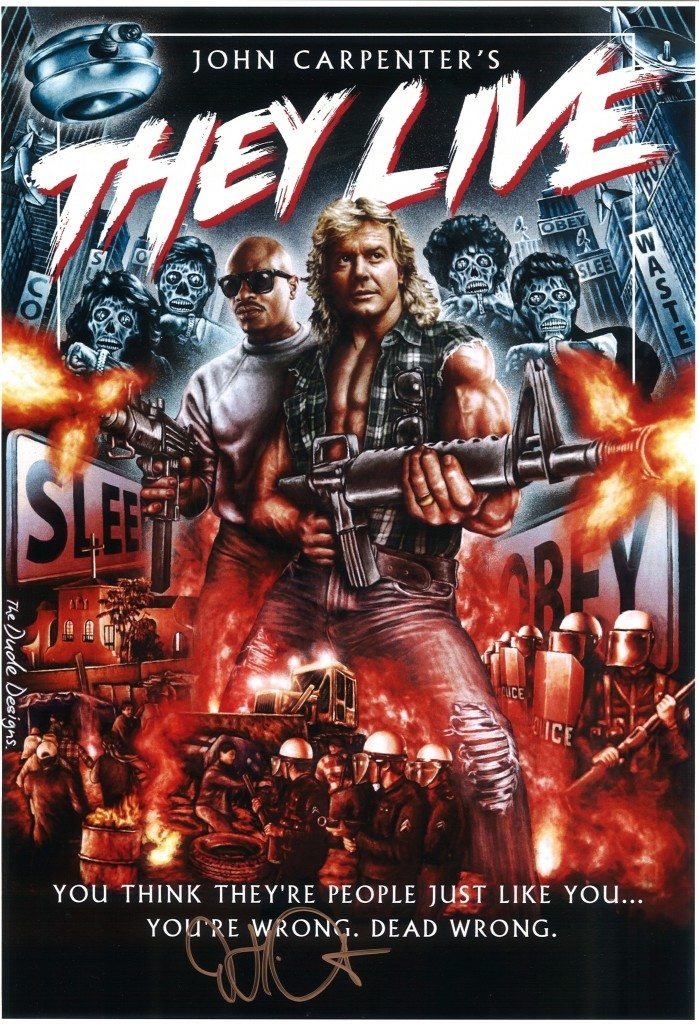 John-Carpenter-Autographed-11x17-They-Live-Movie-Poster-Roddy-Piper-with-Gun-Photo