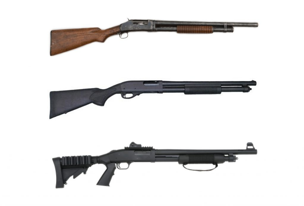 Winchester 1897, the Remington 870 and the Mossberg 500
