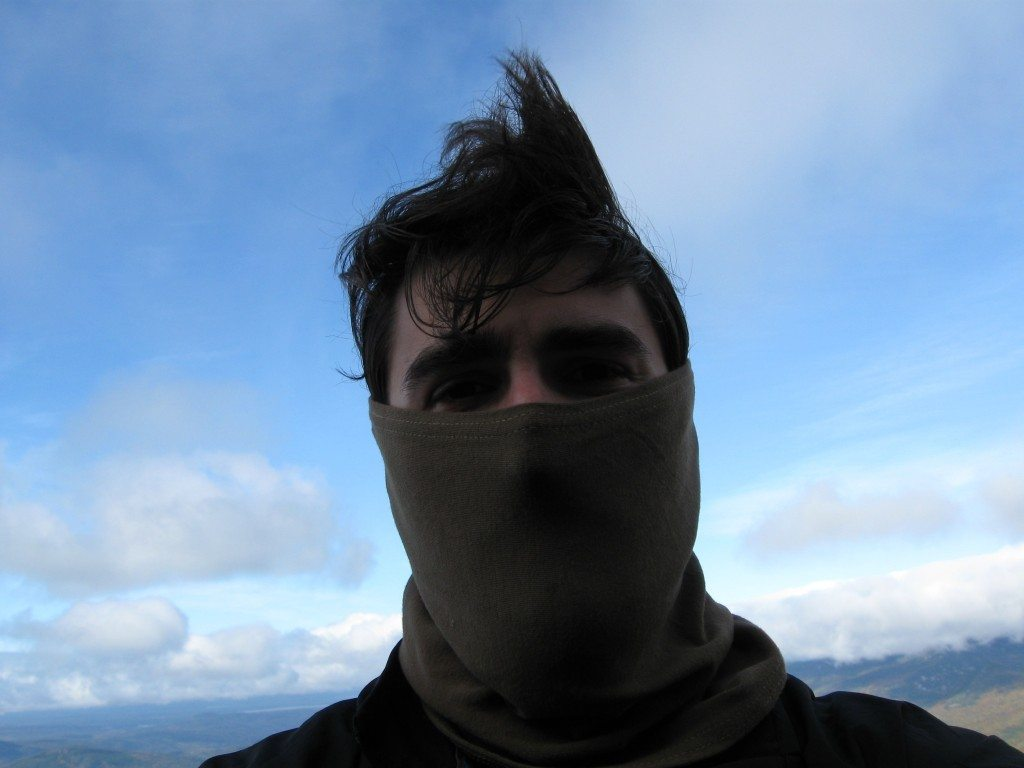 A buddy of mine wearing a military issue gaiter. Used when hiking the Appalachian Trail