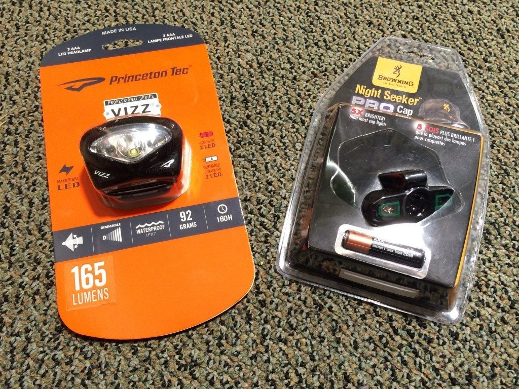 The lamp on the left offers spotlight and floodlight features. The Night Seeker lamp on the right offers a nice straight spotlight beam. These lamps are waterproof, weigh little, cost around $14.00 and have sufficient lighting strength for short hiking distances.