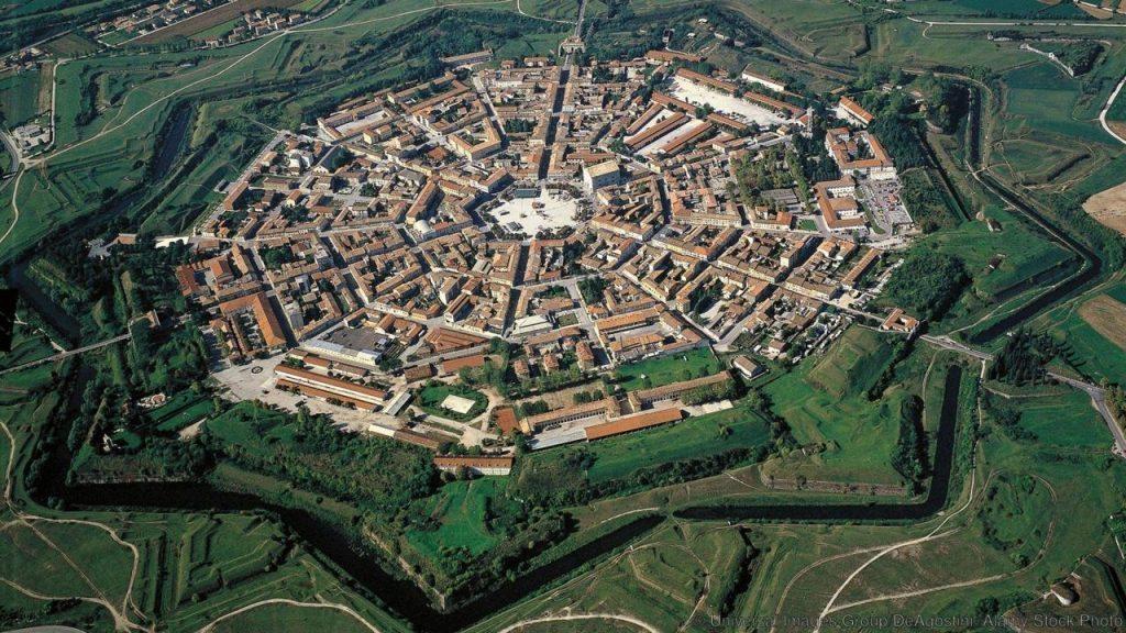 F0297C Aerial view of Palmanova - Province of Udine, Friuli-Venezia Giulia Region, Italy
