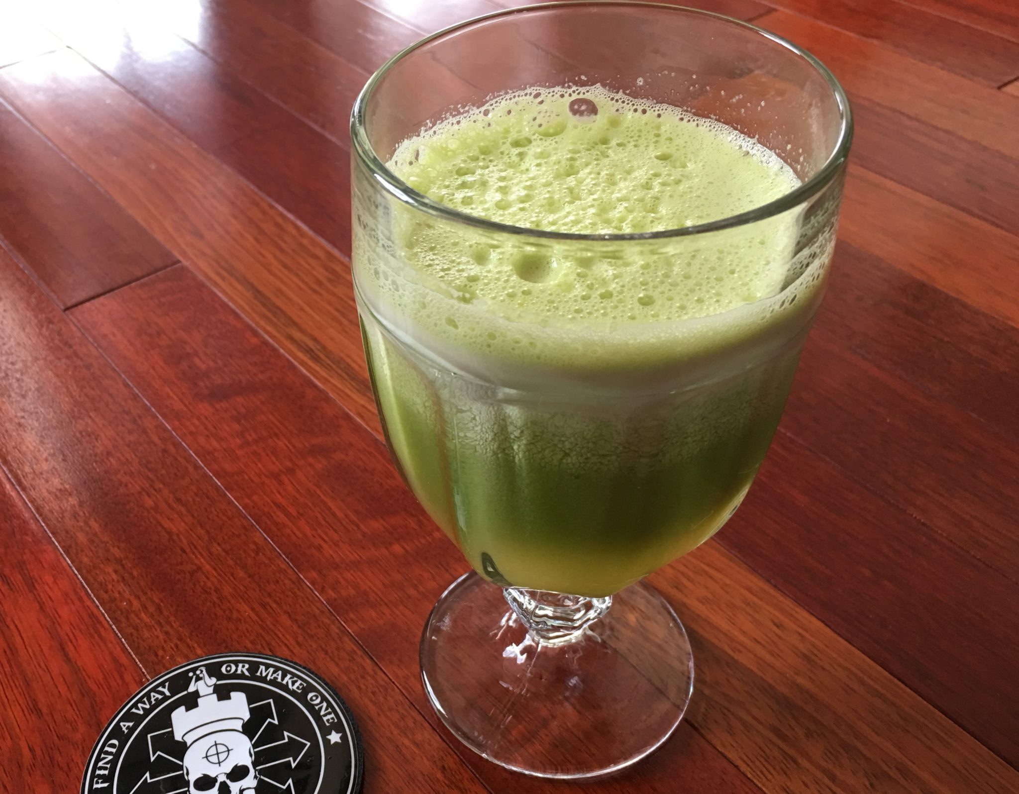Spotterup With Fresh Pressed Apple Celery Juice To Give
