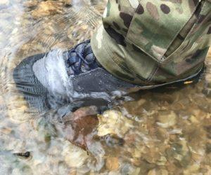 "5.11 Union Waterproof 6"" boot standing in creek"
