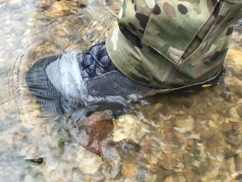"5.11 Union Waterproof 6"" boot standing in creek"
