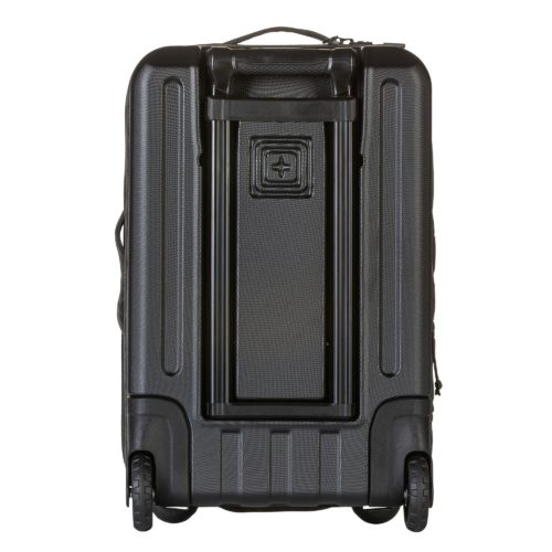 """5.11 Tactical 22"""" Carry On back showing retactable handle, inline wheel and U-feet."""