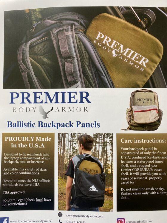 Premier Body Armor Level Iiia Backpack Insert Spotter Up